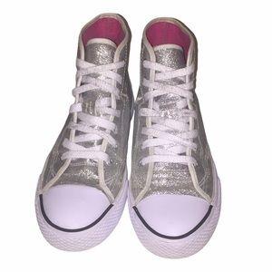 JOJO SIWA Silver Sparkle Hightops Shoes Size 4.5